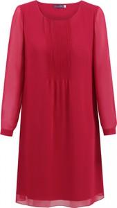 Czerwona sukienka Premiera Dona oversize z okrągłym dekoltem z długim rękawem