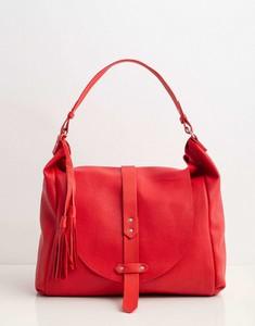Czerwona torebka Sheandher.pl ze skóry ekologicznej w stylu glamour matowa