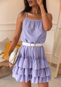 Sukienka Latika mini z okrągłym dekoltem z bawełny