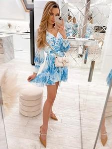 Sukienka Infinityfashion.pl z długim rękawem z dekoltem w kształcie litery v