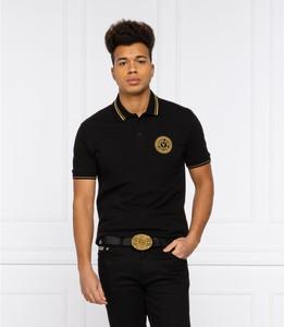 Czarna koszulka polo Versace Jeans z krótkim rękawem