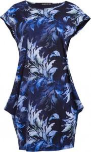 Niebieska sukienka Look made with love mini wyszczuplająca z krótkim rękawem