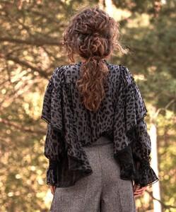 Bluzka byCabo z jedwabiu z długim rękawem w stylu boho