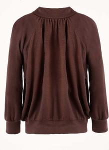 Brązowa bluzka Byinsomnia z bawełny z długim rękawem