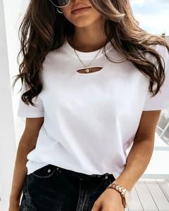 Bluzka Kendallme z okrągłym dekoltem z bawełny z krótkim rękawem