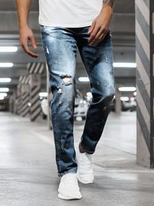 Niebieskie jeansy Ozonee z bawełny