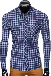 Koszula Edoti.com w stylu casual z włoskim kołnierzykiem z długim rękawem