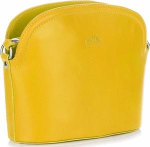 Żółta torebka GENUINE LEATHER na ramię średnia