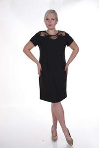 Czarna sukienka Fokus z krótkim rękawem dla puszystych mini