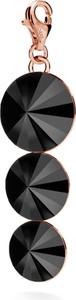 GIORRE SREBRNY CHARMS POTRÓJNY KRYSZTAŁ SWAROVSKI 925 : Kolor kryształu SWAROVSKI - Jet, Kolor pokrycia srebra - Pokrycie Różowym 18K Złotem
