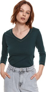 Bluzka Top Secret z tkaniny z dekoltem w kształcie litery v w stylu casual