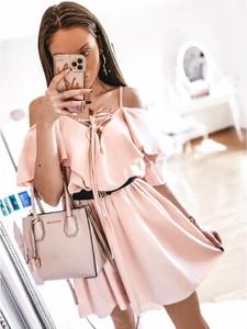 Różowa sukienka magmac.pl mini na ramiączkach
