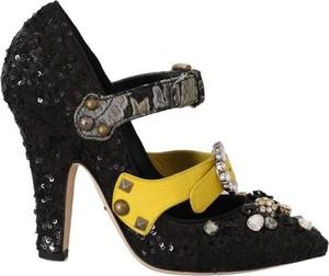 Czarne czółenka Dolce & Gabbana na wysokim obcasie ze skóry ze spiczastym noskiem