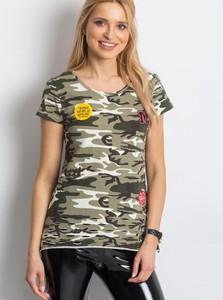 Zielony t-shirt Sheandher.pl z okrągłym dekoltem z bawełny