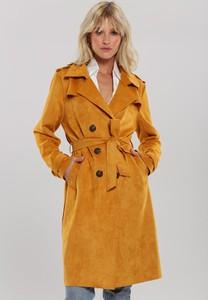 Pomarańczowy płaszcz Renee w stylu casual z zamszu
