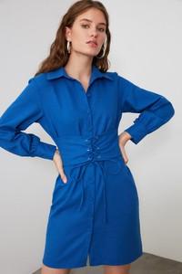 Niebieska sukienka Trendyol mini z długim rękawem