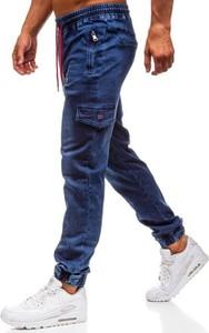Granatowe jeansy Denley z bawełny w street stylu
