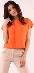 Pomarańczowa bluzka Nommo z okrągłym dekoltem z krótkim rękawem