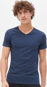 Niebieski t-shirt Reserved z krótkim rękawem