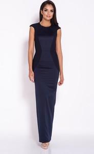 Niebieska sukienka Dursi z okrągłym dekoltem
