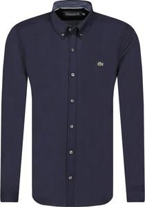Niebieska koszula Lacoste z długim rękawem z kołnierzykiem button down