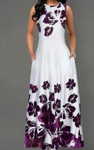 Sukienka Arilook maxi bez rękawów z okrągłym dekoltem
