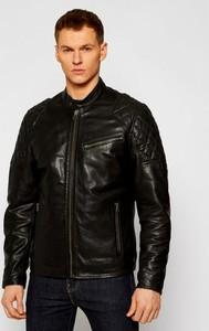 Czarna kurtka Pepe Jeans ze skóry w stylu casual krótka
