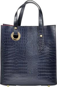 Niebieska torebka Luka z tłoczeniem do ręki