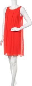 Czerwona sukienka Naf naf bez rękawów ze skóry mini