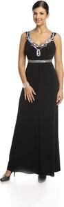 Czarna sukienka Fokus rozkloszowana w stylu glamour maxi