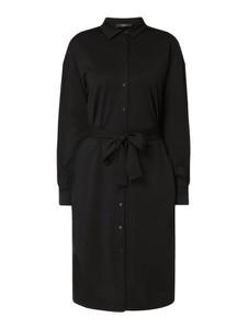 Czarna sukienka Weekend Max Mara z kołnierzykiem z długim rękawem