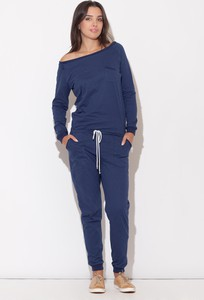 Niebieski kombinezon Katrus z długimi nogawkami z bawełny