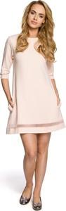 Sukienka MOE z okrągłym dekoltem z tiulu z długim rękawem