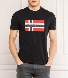 Czarny t-shirt Napapijri z krótkim rękawem