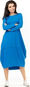 Niebieska sukienka Awama z długim rękawem bombka z okrągłym dekoltem