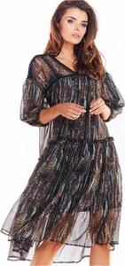 Sukienka Awama z długim rękawem rozkloszowana z tiulu