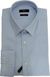 Niebieska koszula Hugo Boss z długim rękawem z bawełny z klasycznym kołnierzykiem