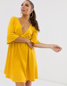 Żółta sukienka Asos z długim rękawem mini