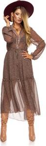 Brązowa sukienka Moda Dla Ciebie z tiulu