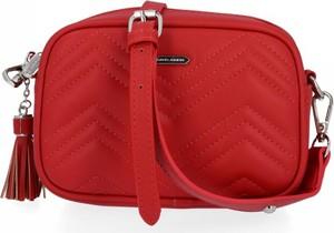 Czerwona torebka David Jones ze skóry ekologicznej na ramię w stylu glamour