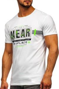 T-shirt Denley z bawełny z nadrukiem z krótkim rękawem