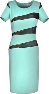 Zielona sukienka Fokus z krótkim rękawem z okrągłym dekoltem midi