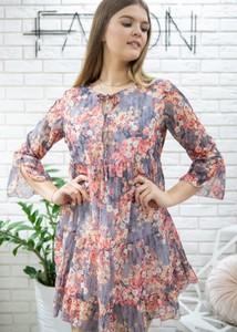 Sukienka Fason z szyfonu z długim rękawem mini
