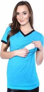 Turkusowy t-shirt Inne z bawełny