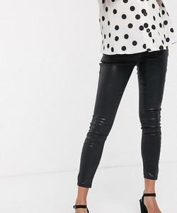 ASOS DESIGN Maternity – Powlekane, czarne jeansy Ridley o obcisłym kroju z podwyższonym stanem-Czarny