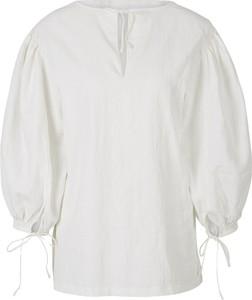 Bluzka Jil Sander z długim rękawem z płótna z dekoltem w kształcie litery v