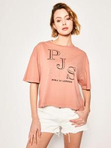 Pomarańczowy t-shirt Pepe Jeans w młodzieżowym stylu z okrągłym dekoltem
