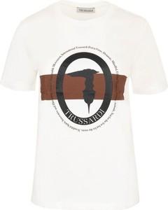 T-shirt Trussardi z nadrukiem z krótkim rękawem w młodzieżowym stylu