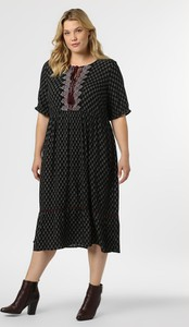 Czarna sukienka Junarose z długim rękawem w stylu casual midi