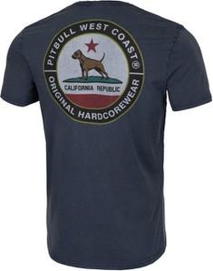 Granatowy t-shirt Pit Bull z krótkim rękawem w młodzieżowym stylu z tkaniny